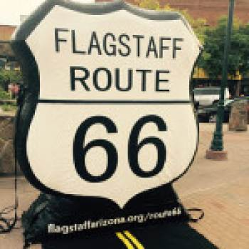 route 66 sign at flagstaff visitor center