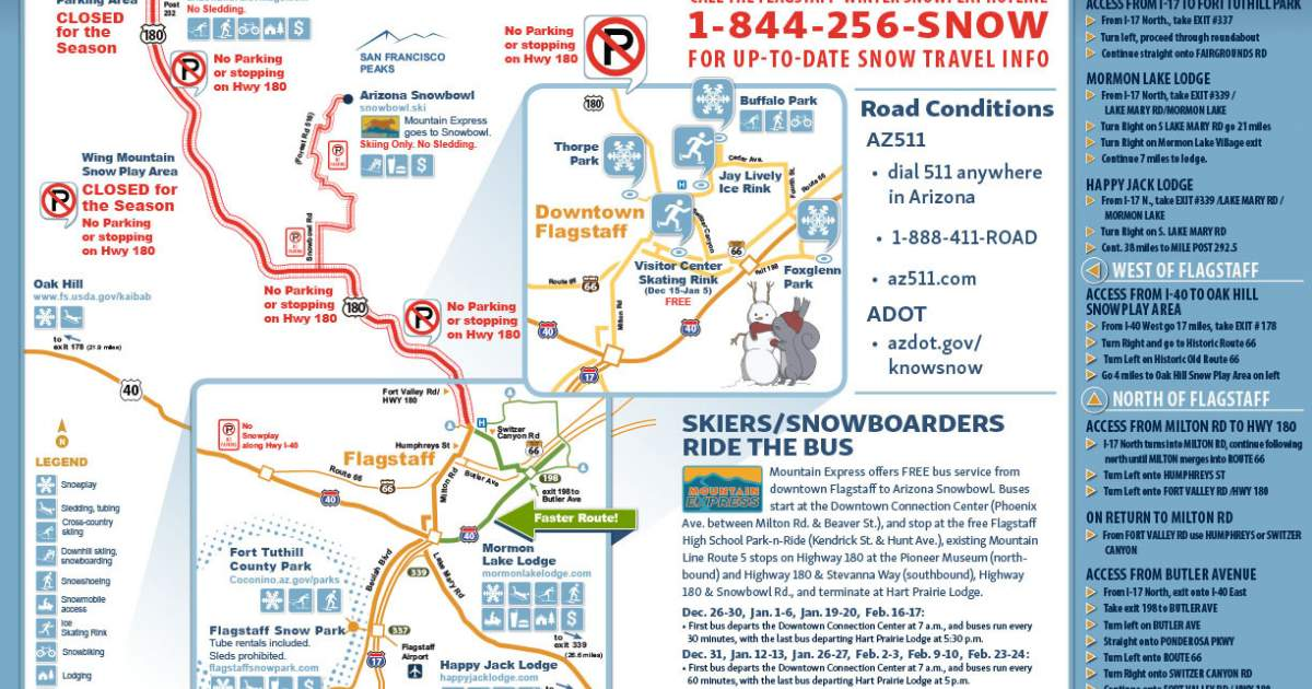 Travel Map Of Arizona.Winter Rec Map Discover Flagstaff